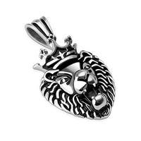 Crowned Lion Stainless Steel Pendant (30.5 mm Width)