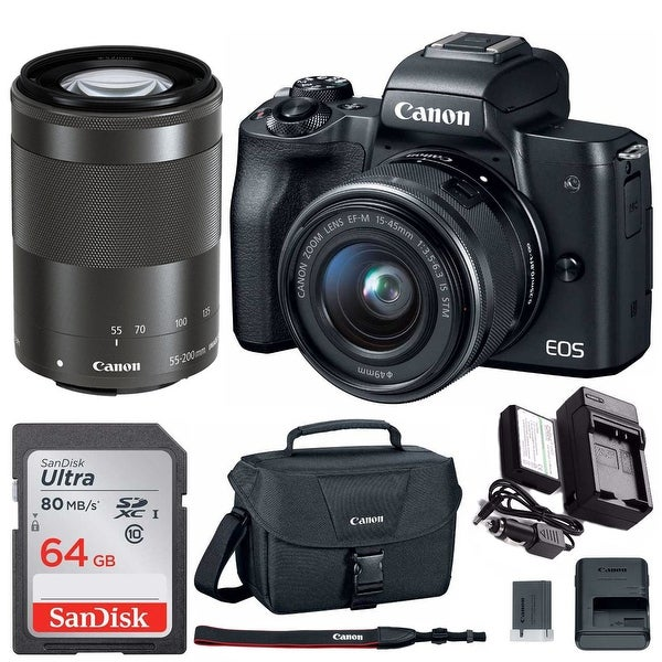 Canon EOS M50 Mirrorless Camera with 15-45mm/55-200mm Lenses and 64GB Bundle