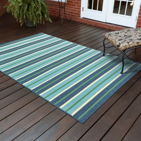 Martinique Feeling the Blues Striped Indoor/ Outdoor Rug