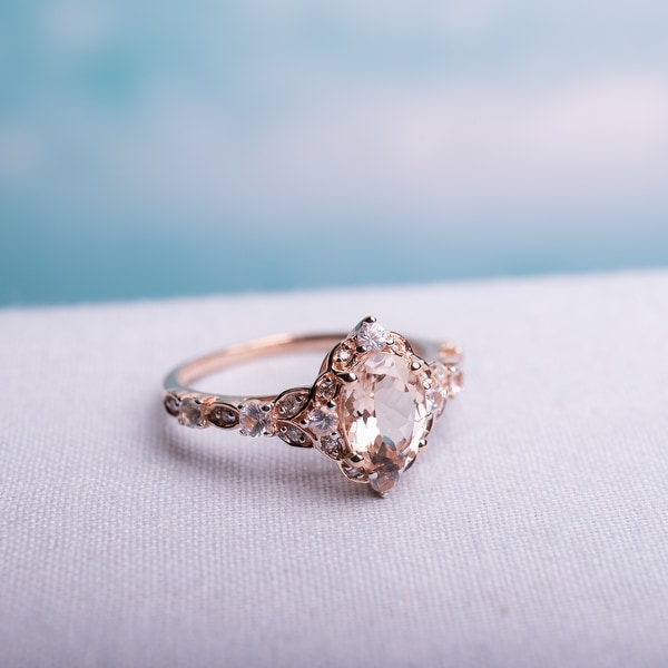 14k Rose Gold Morganite White Sapphire and Diamond Accent Vintage Ring by Miadora. Opens flyout.