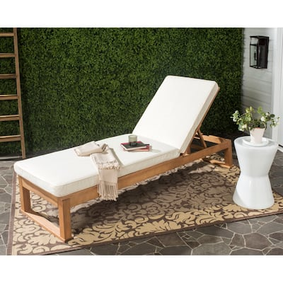 "SAFAVIEH Outdoor Solano Sun Lounger with Cushion - 24.8"" W x 80.9"" L x 37.4"" H"