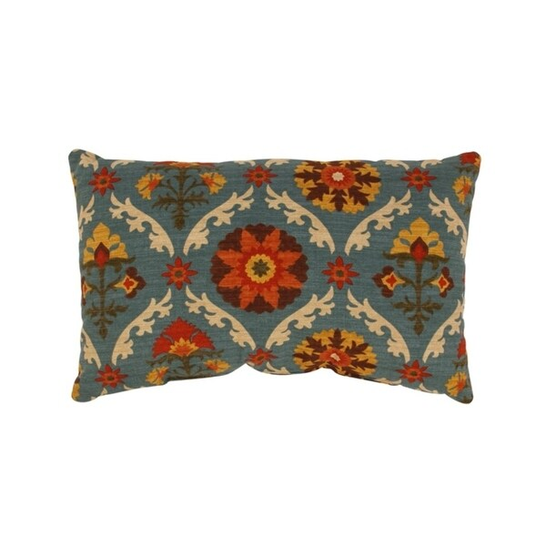 "Mayan Turquoise Blue Floral Medallion Cotton Throw Pillow 11.5"" x 18.5"""