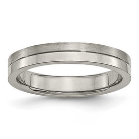 Titanium 4mm Brushed & Polished Band