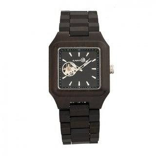 Earth Wood Black Rock Unisex Automatic Watch, Wood Band, Luminous Hands