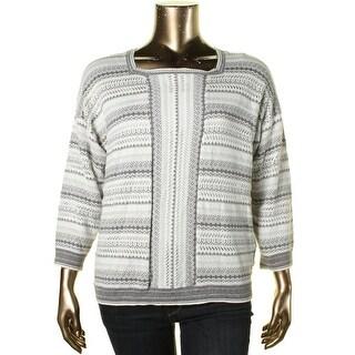 Alfred Dunner Womens Crochet Metallic Pullover Sweater - XL