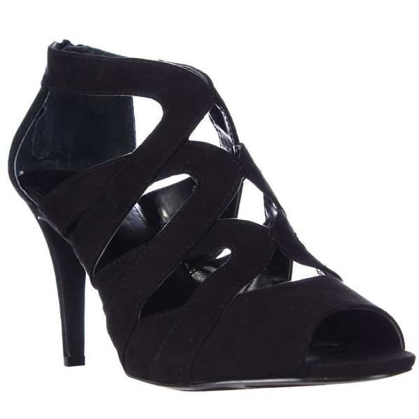 SC35 Uliana Strappy Peep Toe Sandals, Black