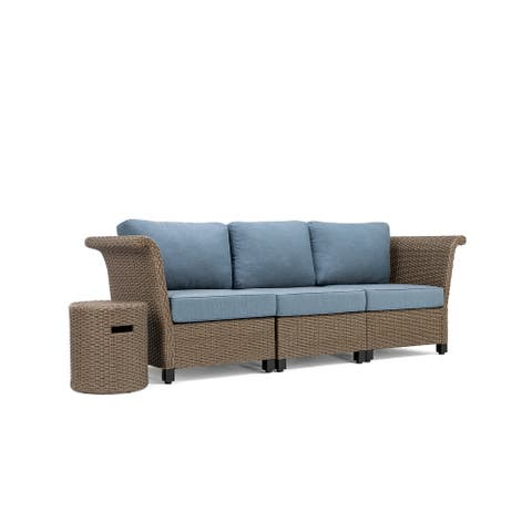 La-Z-Boy Nolin 3pc Weathered Brown Sectional Set with 1 Side Table, Sunbrella Spectrum Denim Fabric