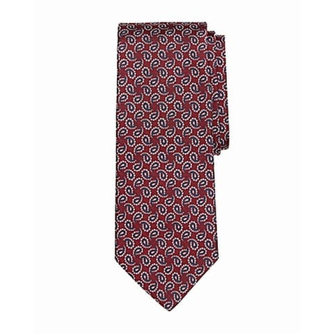 Brooks Brothers Men's Red Paisley Pine Classic Slim Neck Tie Silk