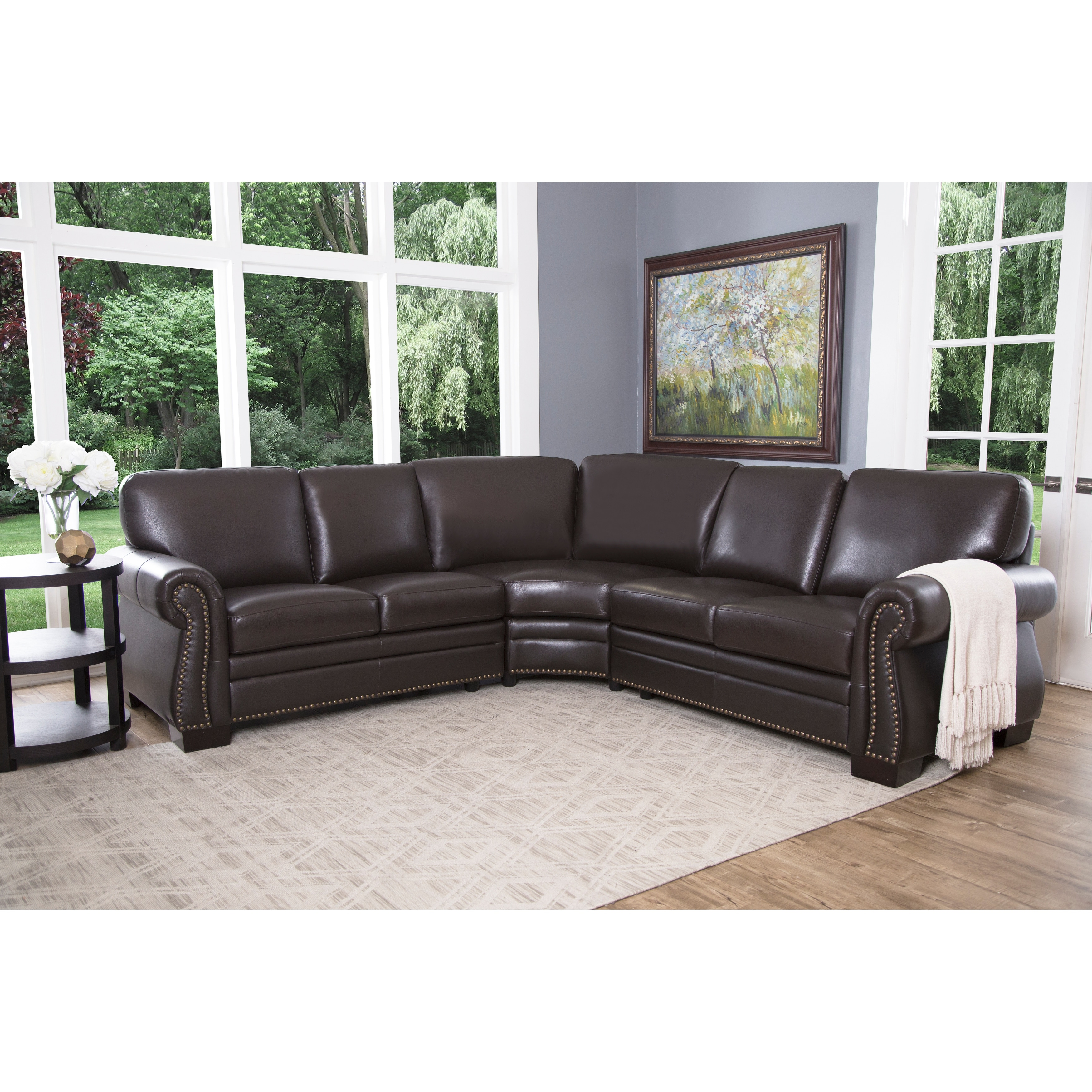 Abbyson Oxford Brown Top Grain Leather Sectional Sofa - On Sale - Overstock - 6475669