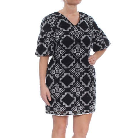 RALPH LAUREN Black 3/4 Sleeve Above The Knee Shift Dress Size 8