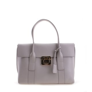 Salvatore Ferragamo Ginny Leather Tote Handbag - White - S