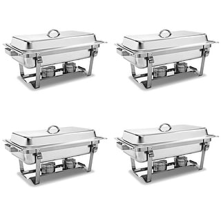 Costway 4 Pack of Stainless Steel Chafer Chafing Dish Full Size 8 Quart Catering Buffet