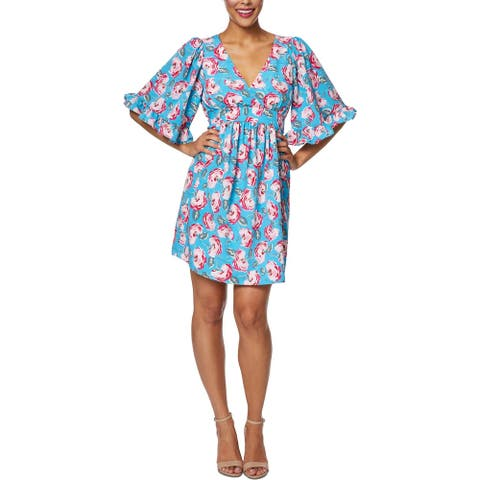 Betsey Johnson Womens Petites Cuban Rose Mini Dress Floral Bell Sleeve - Island Blue Floral