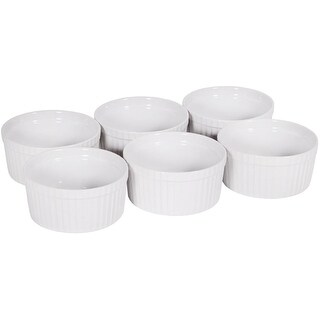 Palais Dinnerware Ramekins Collection Porcelain Soufle Dishes (4 Oz - Set of 6, White - Stripe Finish)