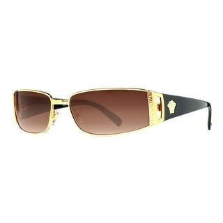 Versace VE 2021 100213 Gold/Brown Gradient Rectangular Wrap Sunglasses - Gold/Black - 60mm-15mm-130mm