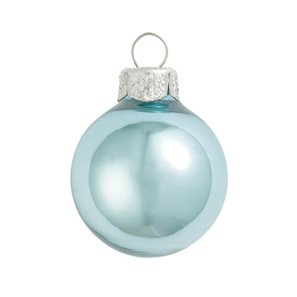 12ct Shiny Baby Blue Glass Ball Christmas Ornaments 2.75 (70mm)