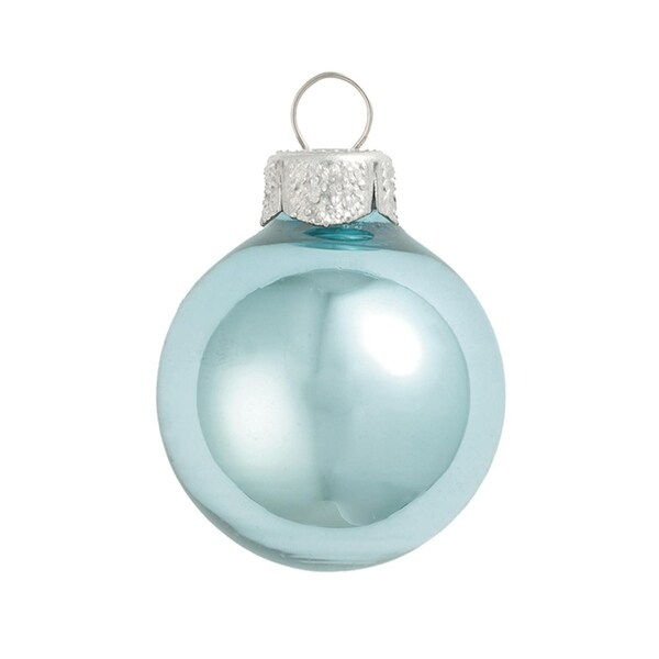"28ct Shiny Baby Blue Glass Ball Christmas Ornaments 2"" (50mm)"