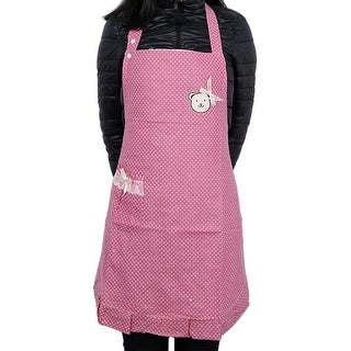 Polka Dot Pink Cooking Plain Apron with Front Pocket Purple