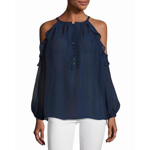 Catherine Malandrino Womens Blouse Blue Size XL Cold Shoulder Ruffle