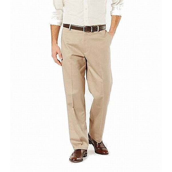 Dockers Mens Pants Beige Size 42X32 Khaki Classic Wrinkle Free Stretch