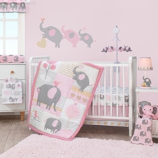 Bedtime Originals Eloise Pink/Gray/Gold/White Elephant 3-Piece Nursery Baby Crib Bedding Set