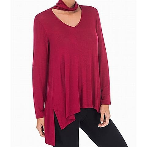 Bobeau Womens Top Red Size Medium M Knit Choker Cutout V-Neck Tunic