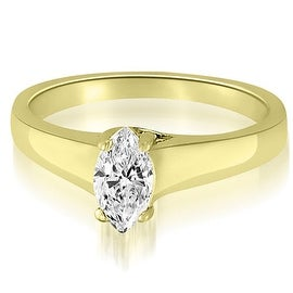 0.50 cttw. 14K Yellow Gold Trellis Solitaire Marquise Diamond Engagement Ring