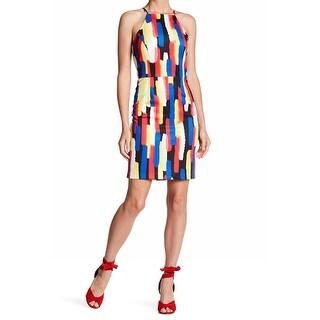 Alexa Admor Blue Womens Small Mondrian Scuba Sheath Dress