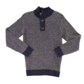 GABLE & GRANT NEW Blue Men Size XL Chevron Knit Pullover Henley Sweater