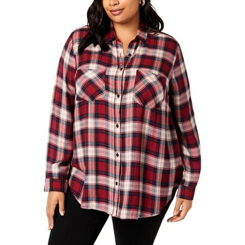 Lucky Brand Womens Plus Button-Down Top Flannel Plaid