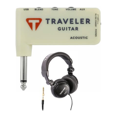 "Traveler Guitar 0-String TGA-1A Acoustic Headphone Amp with Headphones - 3.125"" x 3'' x 0.5"""