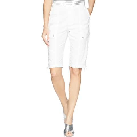 XCVI Women's Shorts White Size XL Vada Fitted Pocketed Bermuda Walking