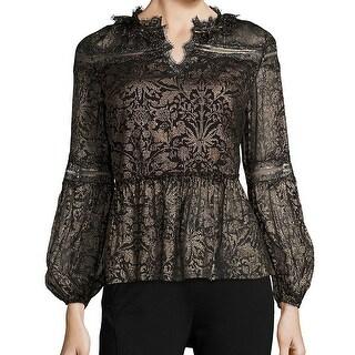 Elie Tahari NEW Black Gold Metallic Women's Size XS Blouse Silk Top