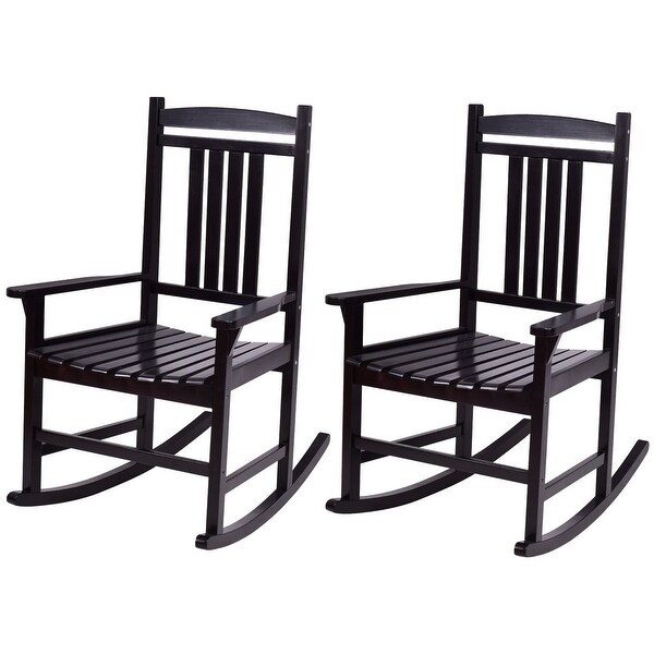 shop costway set of 2 wood rocking chair porch rocker indoor outdoor patio furniture black. Black Bedroom Furniture Sets. Home Design Ideas