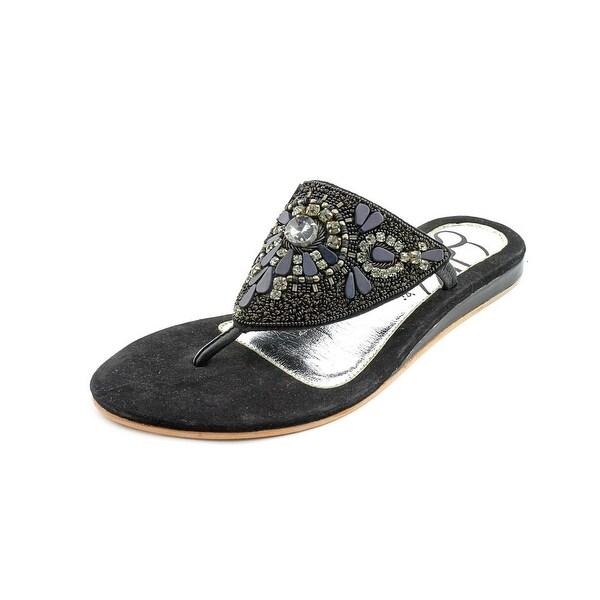 J. Renee Talis Women Open Toe Suede Black Flip Flop Sandal