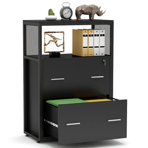 2 Drawer Lateral File Cabinet with Lock, Filing Cabinet Printer Stand for Legal/Letter / A4 Size