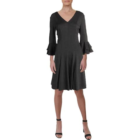 Gabby Skye Womens Wear to Work Dress Ruffled V-Neck - Graphite - 12