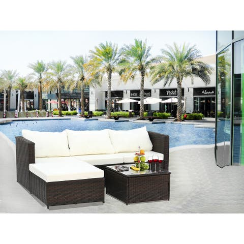 2-Piece Outdoor Conversation Set Rattan Patio Furniture Set Bistro Set Sofa Chairs with Coffee Table