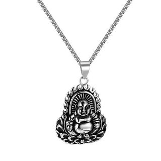 """Buddha With Flame Pendant Stainless Steel 24"""" Necklace Charm Buddhist Custom"""