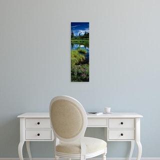 Easy Art Prints Panoramic Image 'Pine trees, Snowcapped mountain,Mt McKinley, Denali National Park, Alaska' Canvas Art