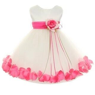 Kids Dream Baby Girls Ivory Fuchsia Satin Petal Floating Flower Girl Dress 6-24M