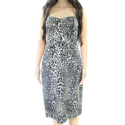 J. Crew Womens Animal Print Seamed Sheath Dress