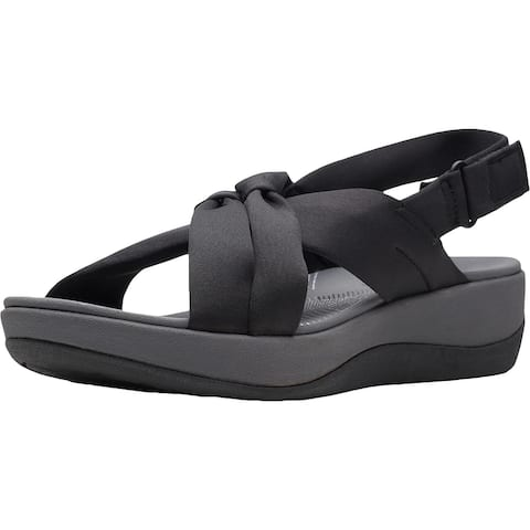Cloudsteppers by Clarks Arla Belle Women's Strappy Slingback Wedge Sandals - Black - 7 Medium (B,M)