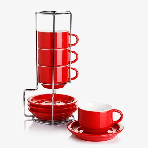 Sweese 4 Ounce Porcelain Stackable Cappuccino Cups With Saucers And Stand, Set Of 4, Red