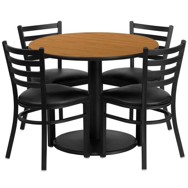 "Dyersburg 5pcs Table Set Round 36"" Natural, Black Vinyl Chair"