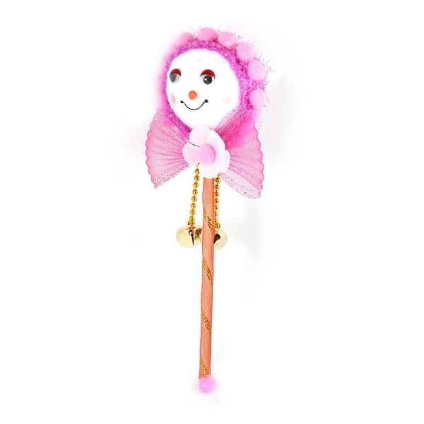 Unique Bargains Xmas Gift Bells Decorated Red Rod Purple Head Christmas Stick Decoration
