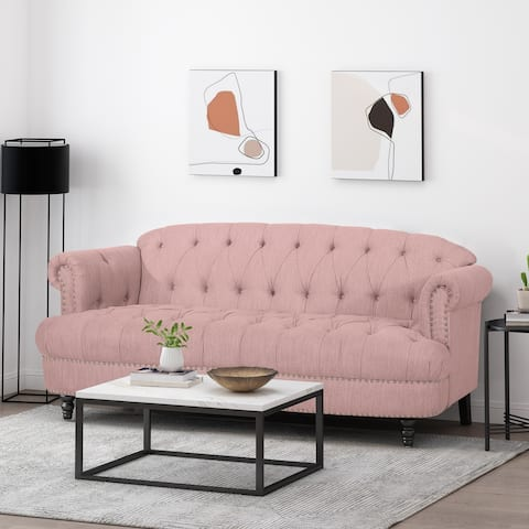 Chouteau Deep Tufted Sofa with Nailhead Trim by Christopher Knight Home
