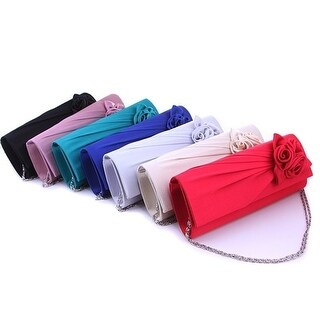 Women Rose Flower Clutch Purse Bag Party Evening Bags With Chain G002