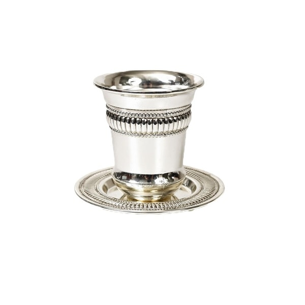 Kiddush Cup Beaded Design Silver Plated 4""
