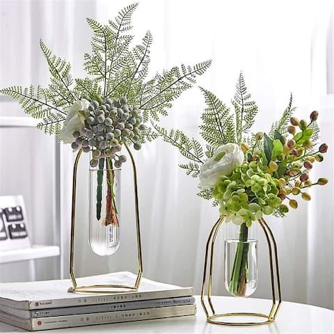 2 Pcs(S+L) Flower Vases with Iron Art Frame, Metal Geometric Flower Vase, Clear Vase Decorative